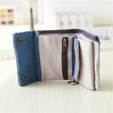 Women Short Wallet Cotton Denim Fabric Multifunction Coin Card Holder Purse