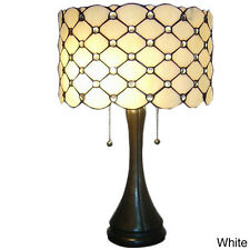"Table Lamp Tiffany-Style Stained Glass White Jewel Shade 22"" High x 16"" Diameter"