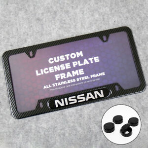 For Nissan Sport Front or Rear Carbon Fiber Texture License Plate Frame Cover