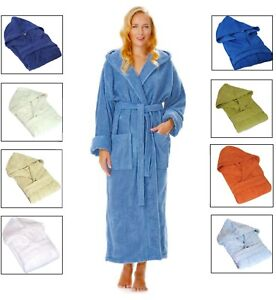 NEW UNISEX HOODED BATH ROBES EXTRA SOFT 100% PURE COTTON TERRY TOWELING DRESSING