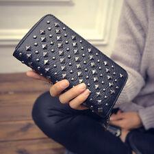 Womens PU Leather Wallet Clutch Rivet Stud Handbag Long Purse Card Holder Bag