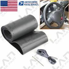 "15"" Car Steering Wheel Cover 38cm Genuine Leather Non-Slip Sweat With Nylon Cord"