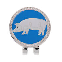 Alloy Creative Chinese Zodiac Pig Golf Hat Clip Magnetic with Ball Marker