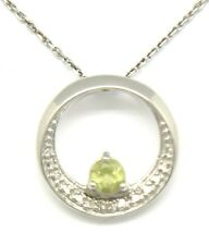 Peridot Diamant Anhänger   925 Silber   Rhodiniert  STERLINGSILBER