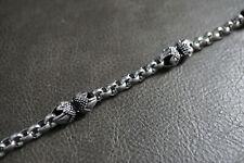 Women Silver Gothic Rolo Chain Bracelet For Harley Motor Rider Biker 105