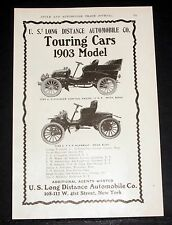 1903 OLD MAGAZINE PRINT AD, U.S. LONG DISTANCE AUTOMOBILE CO, TOURING CARS!