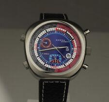 Reloj automatico sorna nos ungetragen, esfera en azul, pulsera de cuero