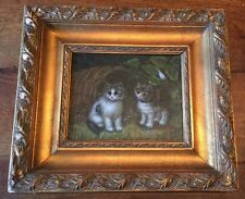 Beautiful Vintage Framed Oil Painting Of Two Kittens Gold Gesso 15.5 X 17 1/4
