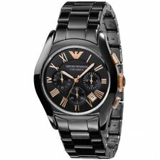 NEW EMPORIO ARMANI AR1410 Classic Black Ceramic Rose gold Chronograph Mens Watch