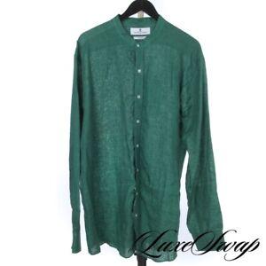 #1 MENSWEAR LNWOT Turnbull & Asser England 100% Linen Green Mandarin Shirt XL