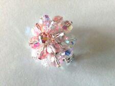 Vintage Pink AB Aurora Borealis Glass Bead Floral Cluster Brooch Scarf Pin J101
