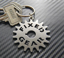 FIXED GEAR Fixie Bike Track Cycle Keyring Keychain Key Stainless Steel Gift