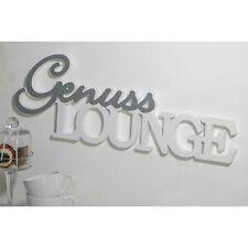 Schriftzug 'GenussLOUNGE' Holz silber/weiß 3D Wand Deko Küche Café stellen NEU