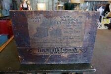Large VTG TYPEWRITER EMPORIUM CHICAGO Antique Wooden Box Crate PAPER LABEL