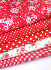 Red Floral Tela paquete Fat Quarters 100% Cotton Craft Quilting Patchwork 22""