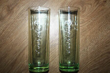 Bacardi Rum Long Drink Glasses x 2 Green Bacardi Bat Embossed Glasses 16.5cm New
