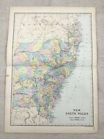 1891 Antik Map Of Neu South Wales Australia 19th Century Viktorianisch Original