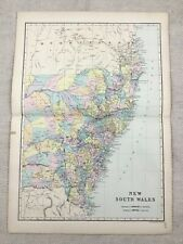 1891 Antique Map of New South Wales Australia 19th Century Victorian Original