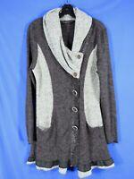 PYRAMID COLLECTION Black/Gray MIXED MEDIA KNIT Sweater Tunic Top SHAWL RUFFLE S