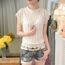 Women White Hollow Lace Stand Collar Short Sleeve Casual Slim Blouse Shirt Tops