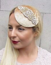 Gold Silver Ivory Beaded Fascinator Hat Races Headpiece Hair Clip Vintage 2720