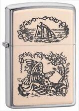 Zippo 29517 Scrimshaw Liberty Eagle Emblem Brushed Chrome Full Size Lighter