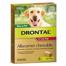 Drontal Dog Allwormer Chewable (50 Pack) 1 Tablet Per 35KG Genuine Worm Red Bulk