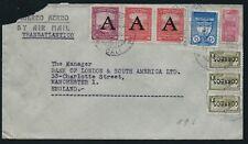 Cubierta aéreo Colombia década de 1950 Banco de Inglaterra Londres ovpt Cali V1104 América del Sur