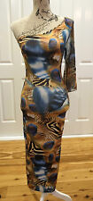 V-London Peacock Feather Print Dress Size XS