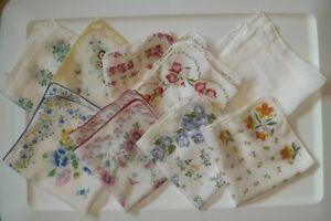 Vintage Womens Floral Handkerchiefs Hankies Mixed Lot of 9