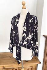 Zara Navy & Cream Printed Flowing Jacket Blazer Size XL UK 16 Bnwt