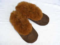 Brand New From Peru Brown Suede & Alpaca Fur Slippers Size W 6.5, M 5, Euro 37