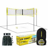 CROSSNET Four Square Volleyball Net and Game Set with Indoor 4 Pack Base Set