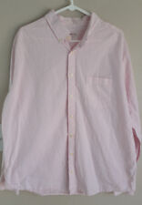 Merona Mens Long Sleeve Dress Shirt Pink/White Stripe size XL