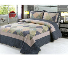 3Pcs Flower Quilted Bedspread Throw Patchwork Set 2 Pillow Case Double King Size