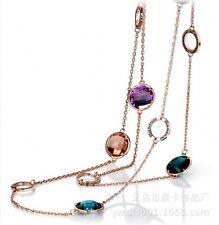 Collier Sautoir Long Chaine Multicolore Rond Bleu Ambré Violet Mauve XXF1
