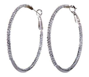"Crystals From Swarovski Baha Hoop Pierced Earrings 2"" Rhodium Authentic 7215z"