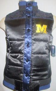 Michigan Wolverines NCAA Women's Snap-Up Satin Vest Jacket