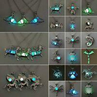 New Women Horse Glow in the Dark Cage Locket Luminous Pendant Necklace Jewellery