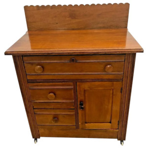 Antique Cabinet Dresser Vanity Commode Civil war era halfmoon post joints