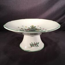 Nikko Christmastime Pedestal Candy Footed Dish Tray Octagon Christmas Tree