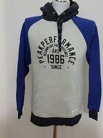 Peak Performance Hoodie Kapuzenpullover Gr. M Grau/Blau Logodruck Baumwolle
