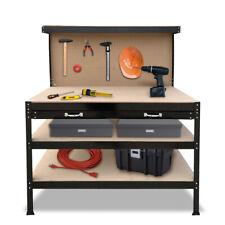 Steel Work Bench 3 Layer Garage Storage Home DIY Tool Shop Shelf Pegboard Drawer