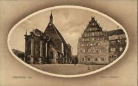 1919 Stempel FREIBERG Sachsen auf Postkarte Strassen Partie am Dom mit Museum