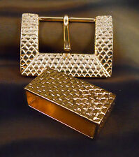 """Fashion 2pc. Metal Belt Buckle Set-Polished Gold Finish-Made in Italy-1.5"""" Bar"""