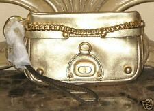 JUICY COUTURE TURNLOCK LEATHER WRISTLET PURSE GOLD $125
