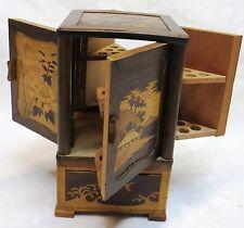 Gorgeous Antique Inlay Wood Cabinet Vintage Cigarette Tobacco Dispenser Case