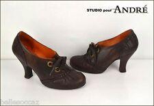 Studio pour ANDRE Escarpins @ Lacets Taille 40 Cuir Marron Chocolat !