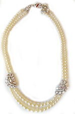Ben-Amun Two Row Simulated Pearl Necklace w/Crystal Stations/Wedding Collection