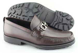 Men's SALVATORE FERRAGAMO 'David' Dark Brown Leather Loafers Size US 11 - 2E